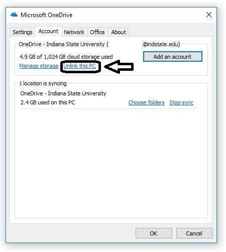 One Drive Client Account Settings